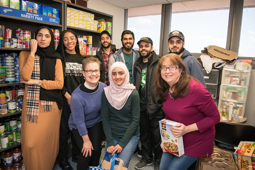 Volunteers at UMBC's Retriever Essentials food pantry.