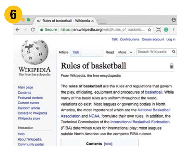 Screenshot of Wikipedia post about rules of basketball