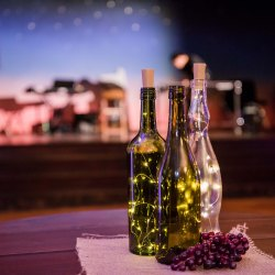 Wine bottles with fairy lights and fake grapes