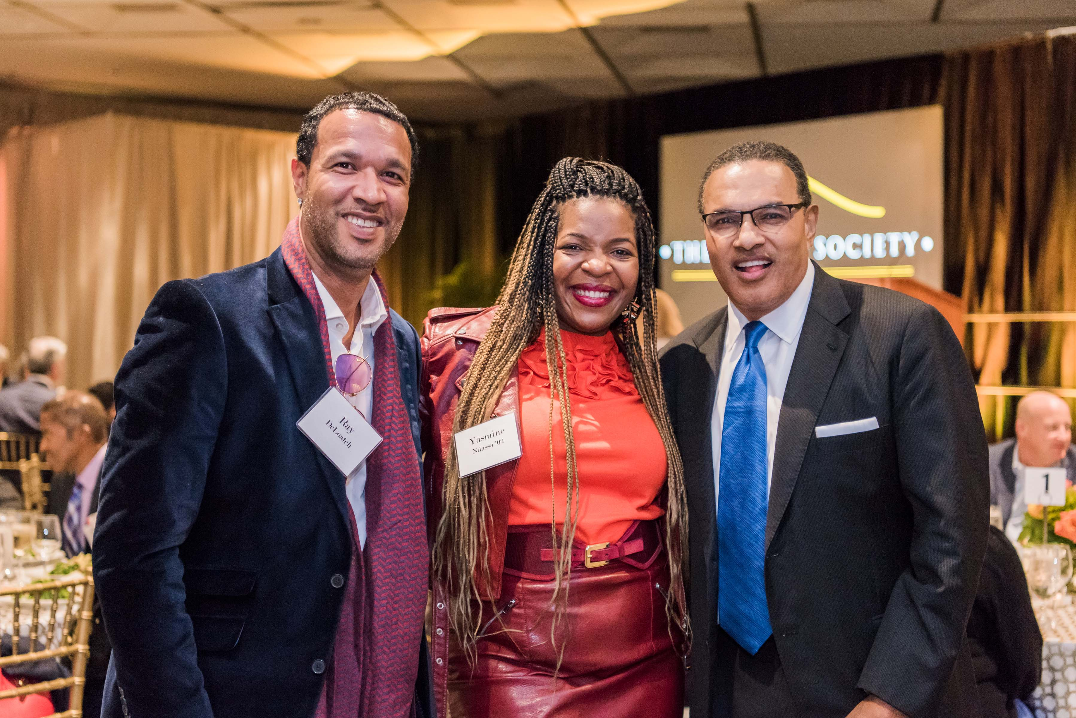 President Hrabowski poses with Ray Deloatch and Yasmine Ndassa at dinner