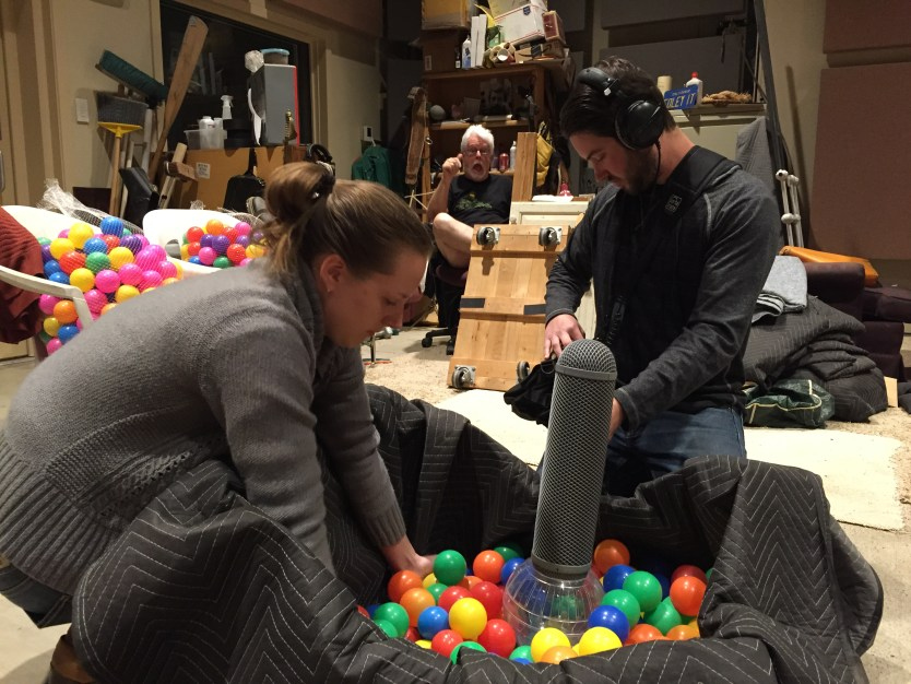 Patrick creates sounds on one of the foley stages at Skywalker with two of her coworkers.