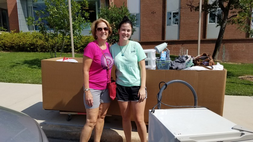 Kim joins her daughter Miranda on freshmen move-in day. Photo courtesy of the Stadler family.