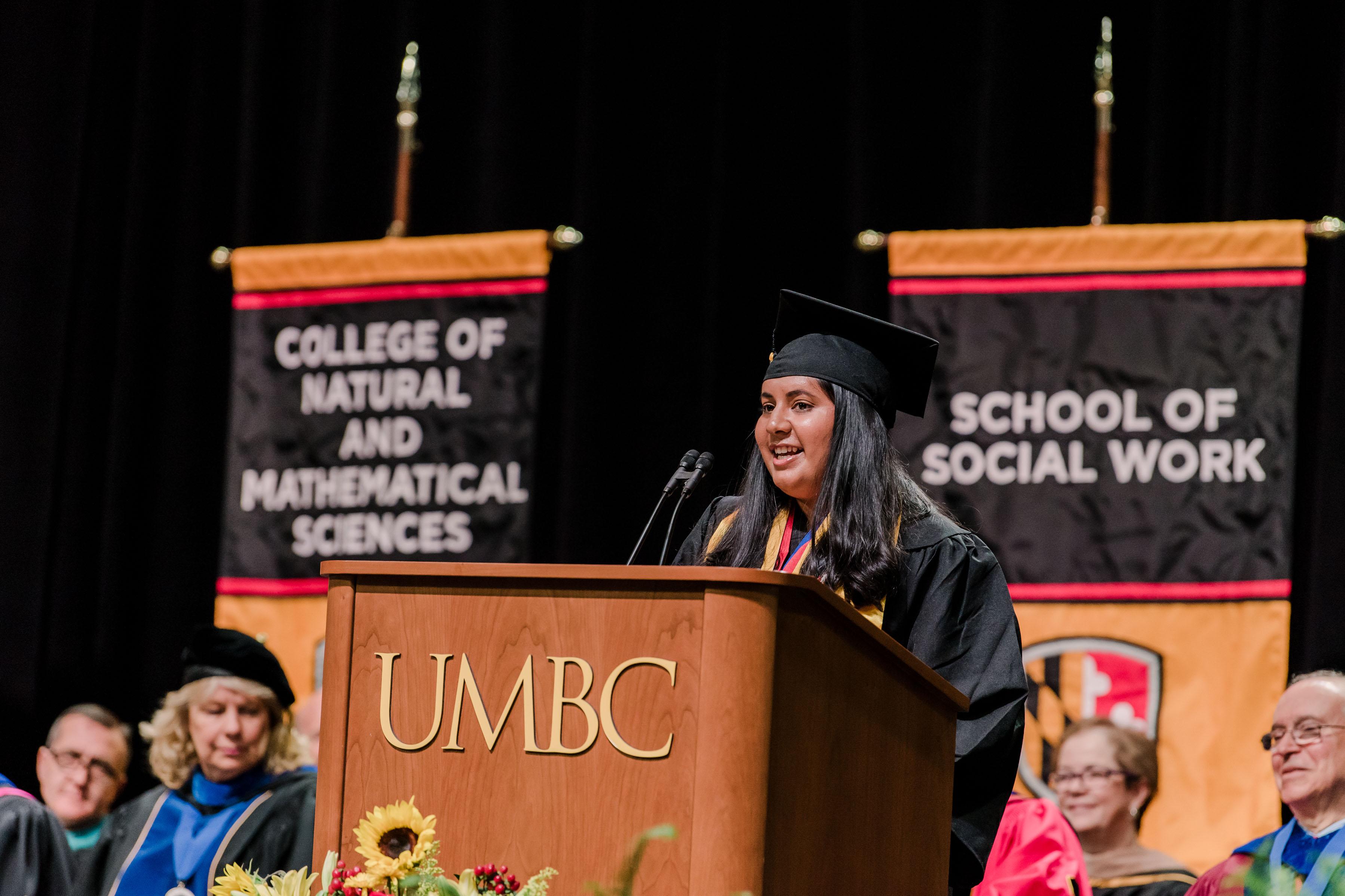 Undergradaute valedictorian Samiksha Manjani addresses her classments at spring commencement 2019.