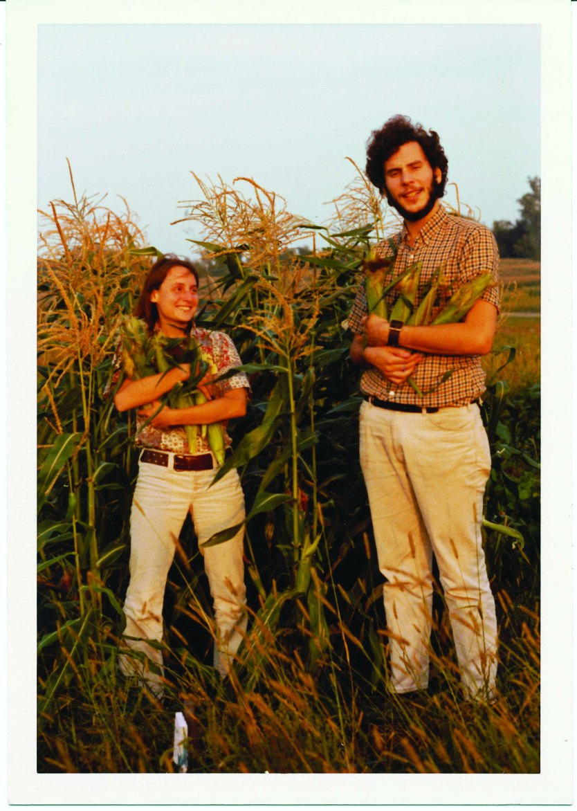 Warren and Amy Belasco harvest corn at their first community garden plot in Ann Arbor, MI, in the early 1970s.