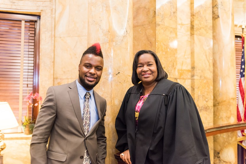 Randall Ainsworth and Chief Judge Heard. Photo by Marlayna Demond '11.