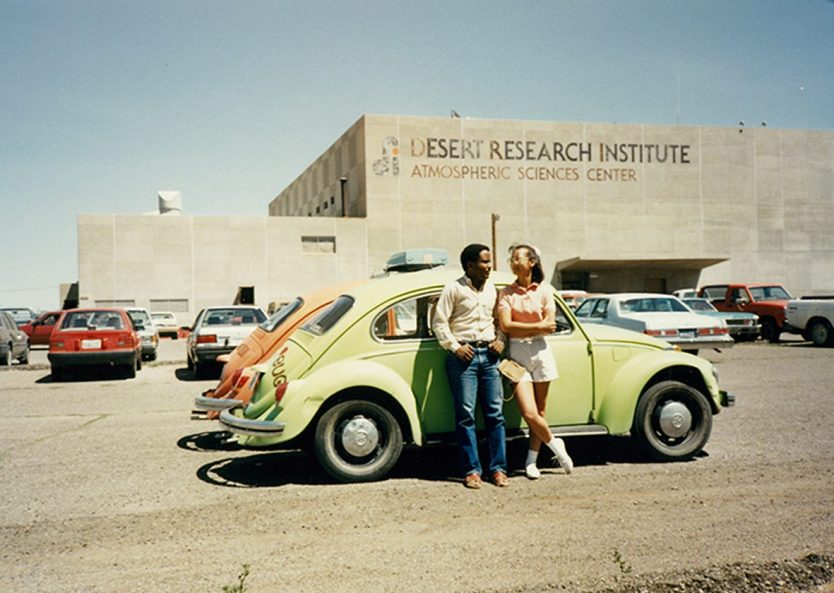 In front of the Desert Research Institute circa 1991 with a fellow graduate student. Photo courtesy of Demoz.