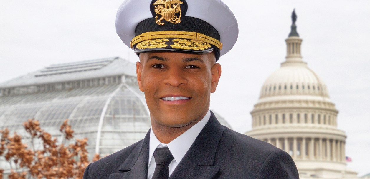 Headshot of Jerome Adams in his naval uniform