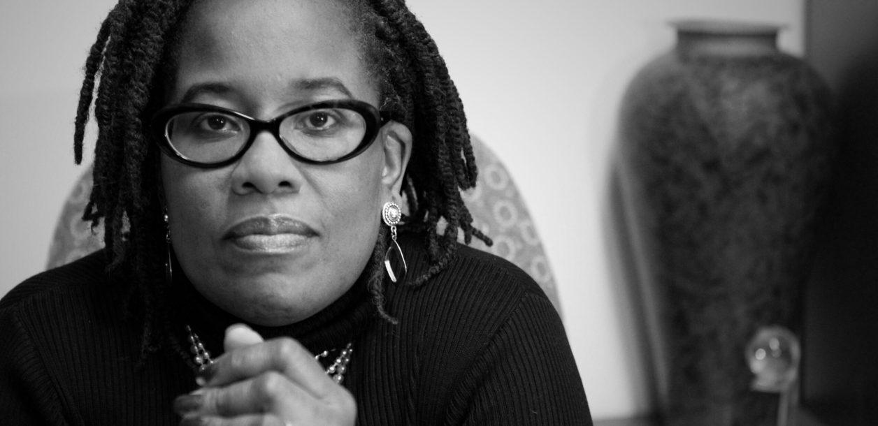 "Black and white headshot of Karsonya ""Dr. Kaye"" Wise Whitehead"