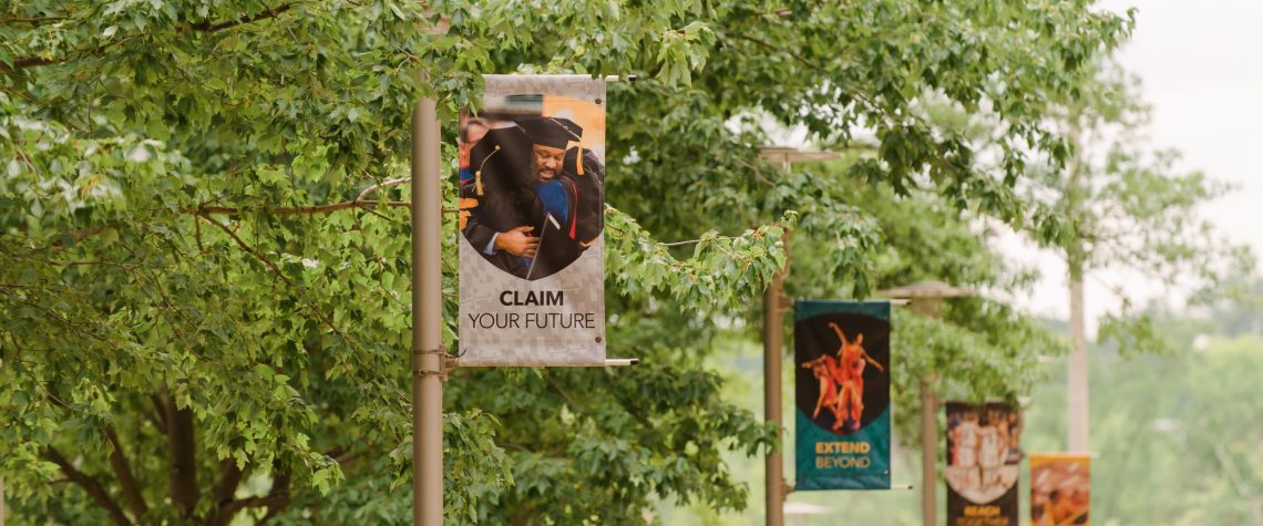 Campus banners in summer