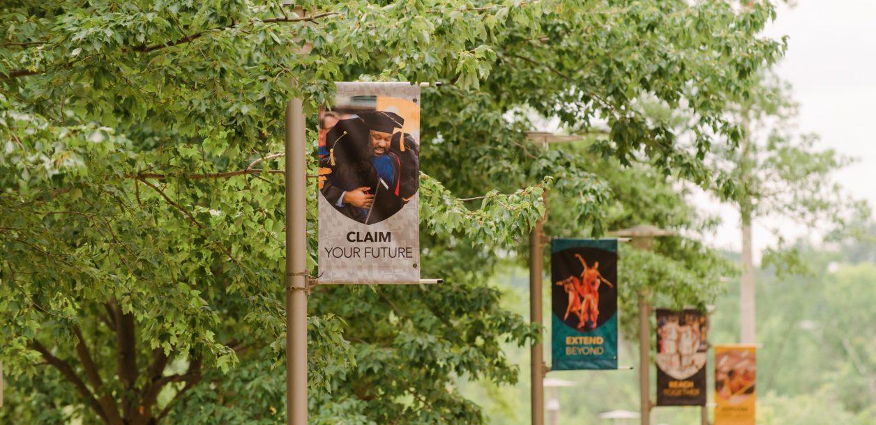 "Campus banner reading ""Claim your Future"""