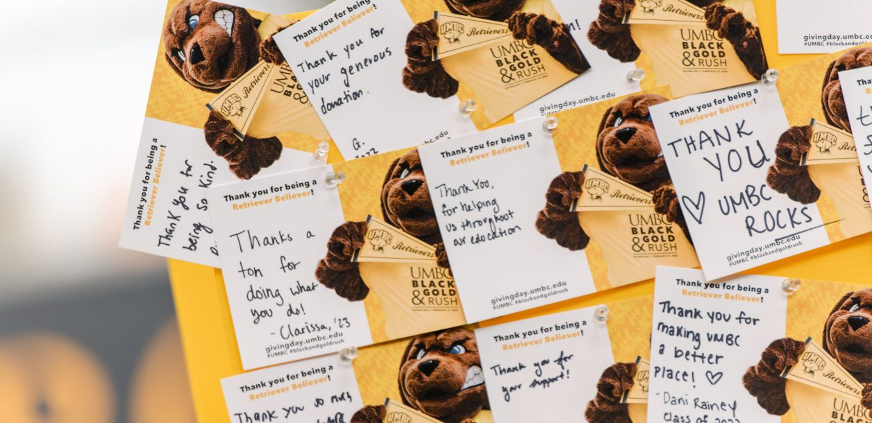 Thank you cards for UMBC's 2020 Giving Day