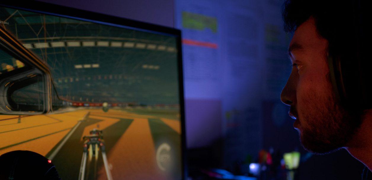 David Patton plays the video game Rocket League.