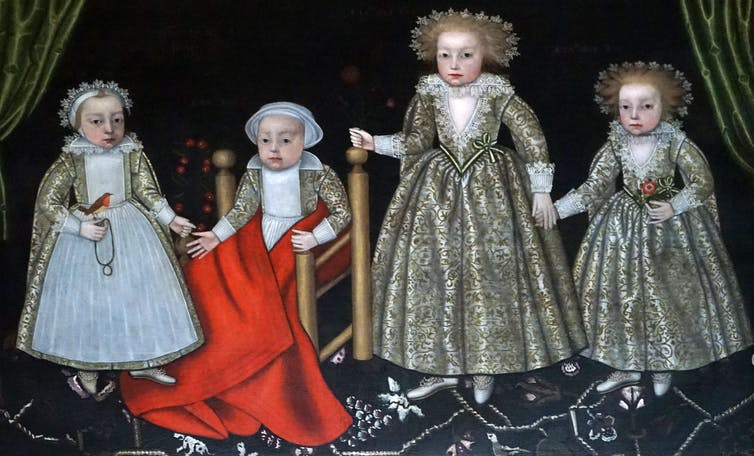 an old piece of art with multiple painted children