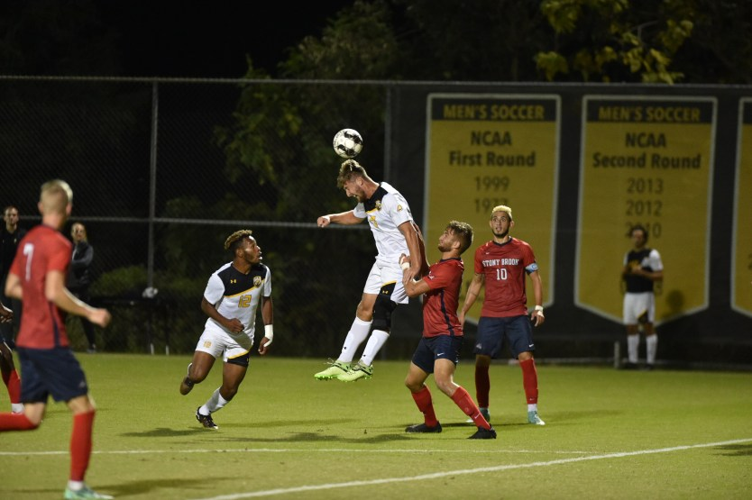 UMBC men's soccer plays against Stony Brook. Photo courtesy of Ian Feldman '21.
