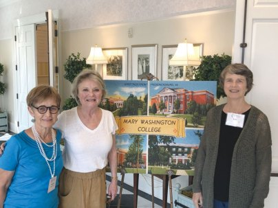 Far-flung members of the Class of 1969 are (from left) Virginia Wheaton, Carol Hewitt Guida, and Lyn Howell Gray, all of whom came from overseas to attend reunion.