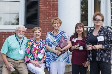 The president's reunion welcome reception included (from left) Dick Atkinson, Lesley Fanning Atkinson '69, Donna Jones-Searle '70, Pauline Elkins Rosenstein '69, and Nancy Raisor Schlossberg '69.
