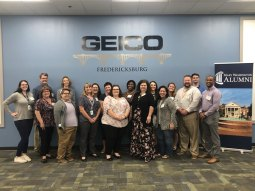 Mary Washington grads affiliated with GEICO – UMW's largest alumni employer – attended a reception in August.