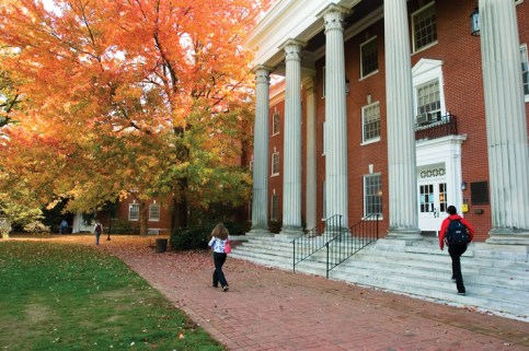 UMW's trees are never lovelier than in fall. Here, a maple lays a carpet beside Ball Hall. (Photo by Lynda Richardson '81)