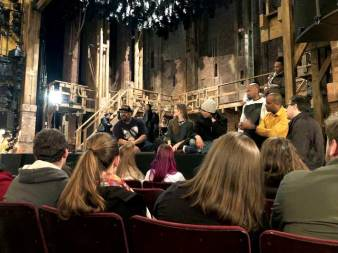 After seeing Hamilton, students chatted with actors onstage at Richard Rodgers Theatre. Actors are, from left, James Monroe Iglehart (Marquis de Lafayette and Thomas Jefferson), Elizabeth Judd (understudy), Anthony Lee Medina (John Laurens and Phillip Hamilton), Bryan Terrell Clark (George Washington), and Daniel Breaker (Aaron Burr). Photo by Jon K. Reynolds '07.