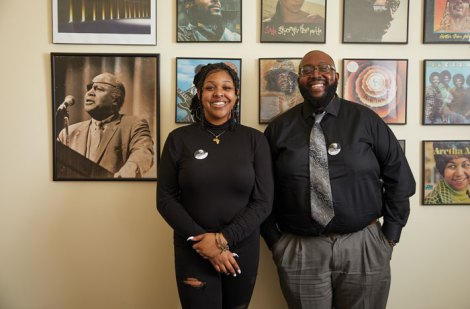 The James Farmer Multicultural Center and its assistant director, Christopher Williams (right), helped Brianna Reaves '22 find her home on campus when she first came to UMW. Reaves and others founded UMW NAACP, an active group and the school's first chapter. (Adam Ewing)