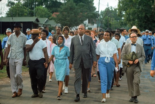 During their first-year seminar, many students are surprised to learn of James Farmer's heroism and leadership in the civil rights movement. Here, he leads a CORE-sponsored march through Bogalusa, Louisiana, in July 1965. He barely escaped lynching after a similar march that year, 100 miles west in Plaquemine. (A.Y. Owen/The LIFE Images Collection/Getty Images)