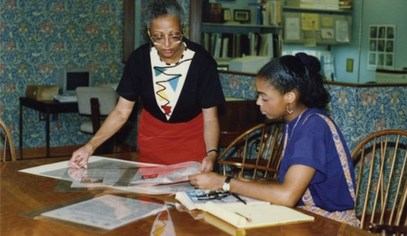 Brenda Sloan, Mary Washington archivist and librarian from 1983 to 2003, remembers hearing Farmer speak when she was a young woman in North Carolina. She and Farmer became colleagues and friends. She is shown here helping a student in 1991.