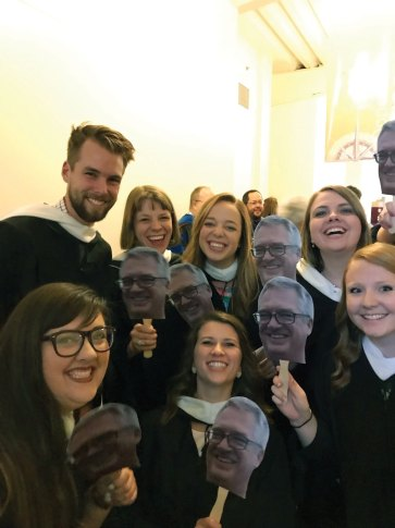 Truman State students celebrate Kelly at commencement.
