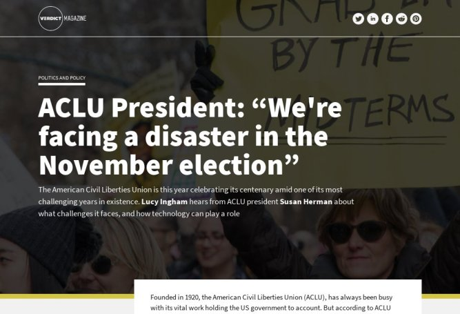 """ACLU President: """"We're facing a disaster in the November election"""" - Verdict Magazine   Issue 5   September 2020"""
