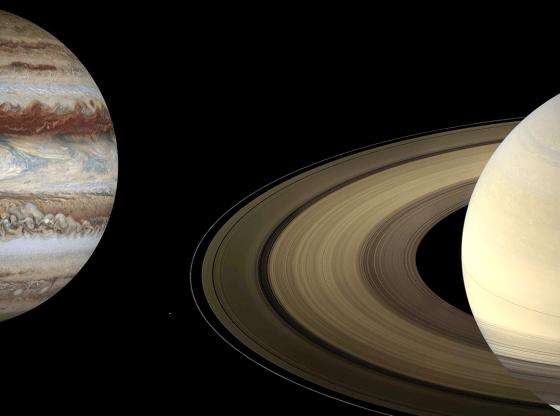 L'illustrazione mostra i pianeti Giove e Saturno