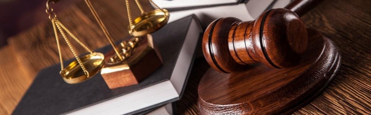 L'immagine mostra un martelletto da giudice, una bilancia e vari libri