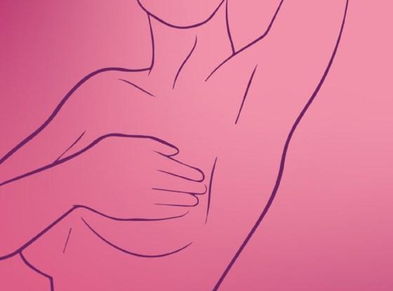 L'immagine mostra una sagoma di donna che esegue l'autopalpazione del seno