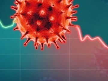 L'illustrazione mostra un virus e una curva dei contagi