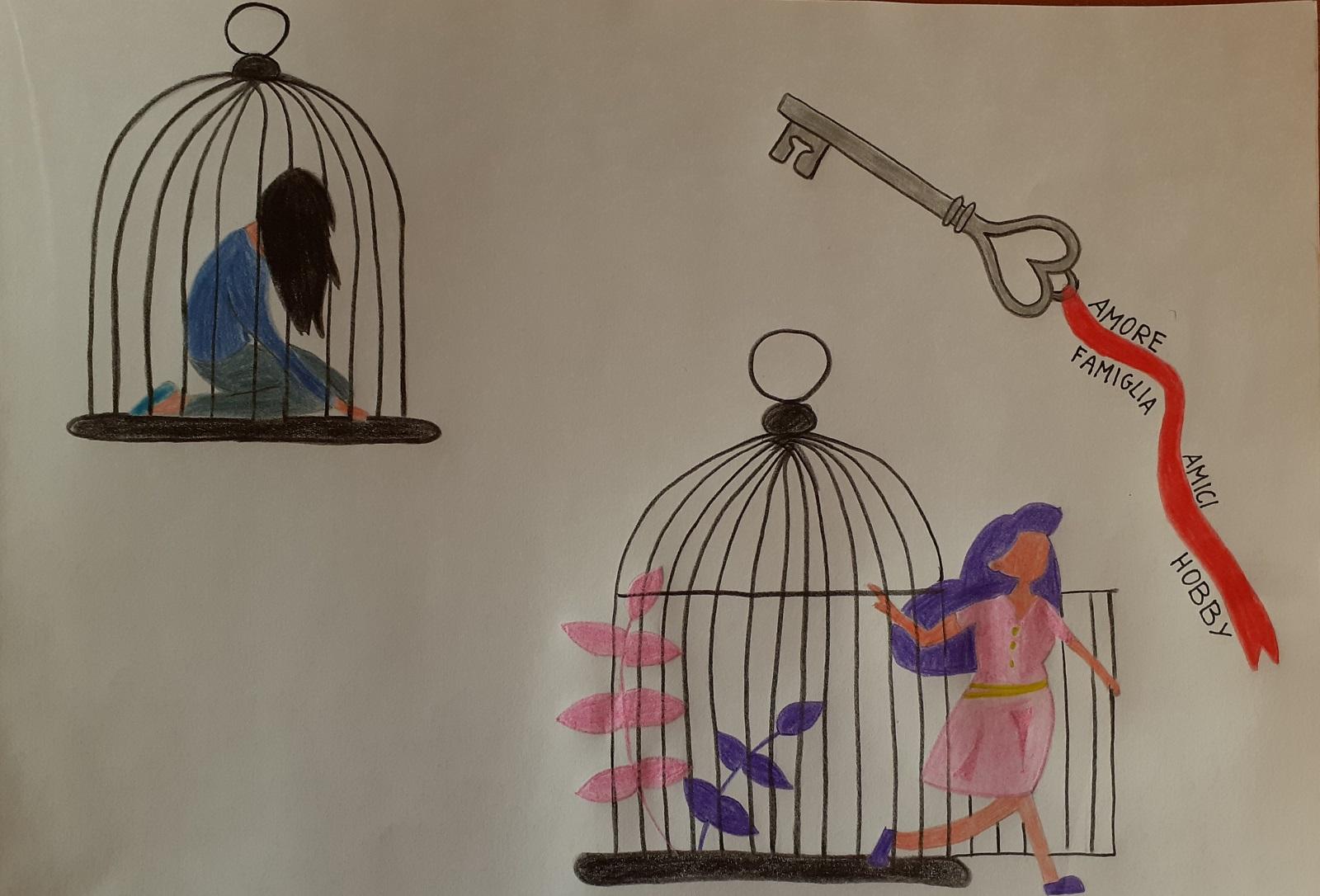 L'immagine mostra il disegno di Daria Rekhtet riguardante la violenza sulle donne