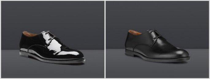 Zapatos Mayfair en cuero mate y charol negro. Fotos: www.jimmychoo.com