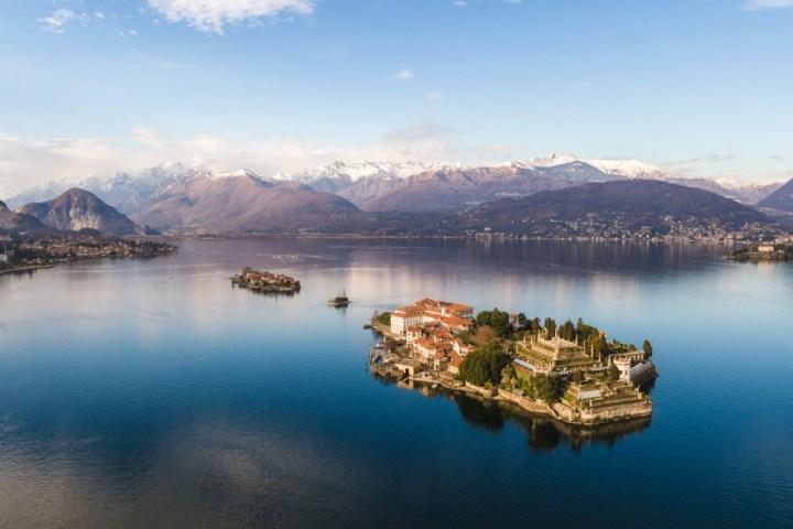 Dettaglio dall'alto delle Isole Borromee, nel Lago Maggiore