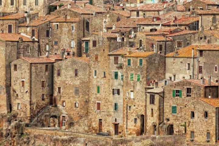 Case tradizionali del borgo di Pitigliano
