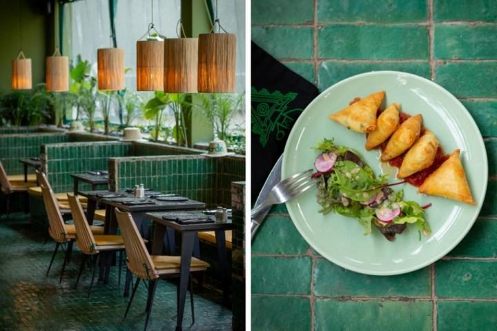 Il design ricercato e un piatto di briouat a Le Jardin