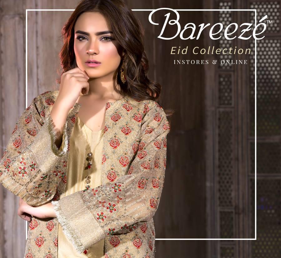 Embroidered Bareeze Eid latest design 2018