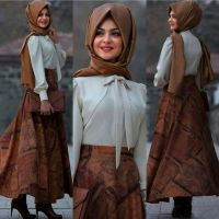 Hijab Look with Flare Skirt Outfit Fashion 2018