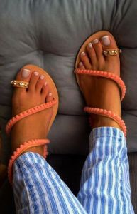 Toe Loop Flats Fashion In Summers 2018 (11)
