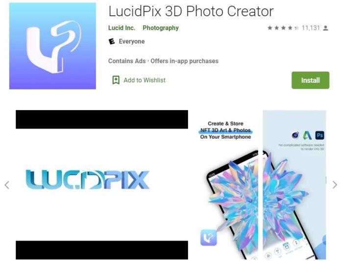 Phần mềm chụp ảnh 360 LucidPix 3D Image Maker
