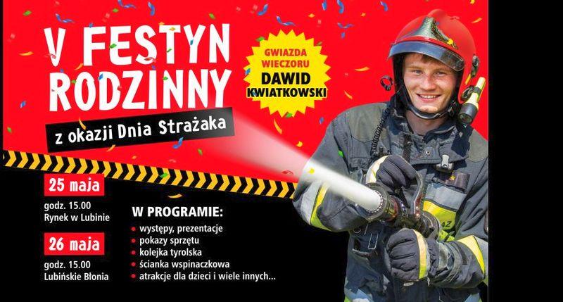 Dawid Kwiatkowski i V Festyn Rodzinny z okazji Dnia Strażaka