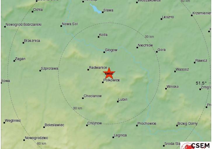 Silny wstrząs w rejonie Polkowic