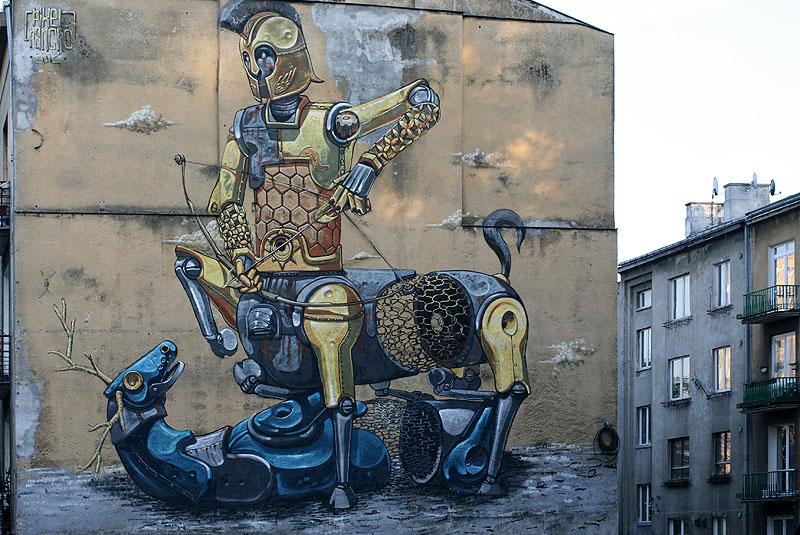 Mural z Warszawy na szczycie kamienicy przy Dolnej 37, wykonawca - Pixel Pancho, data powstania 2012, fot. Paweł Wroński