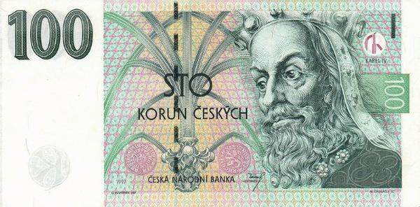 Awers banknotu o nominale 100 CZK (z zasobów Wikipedii)