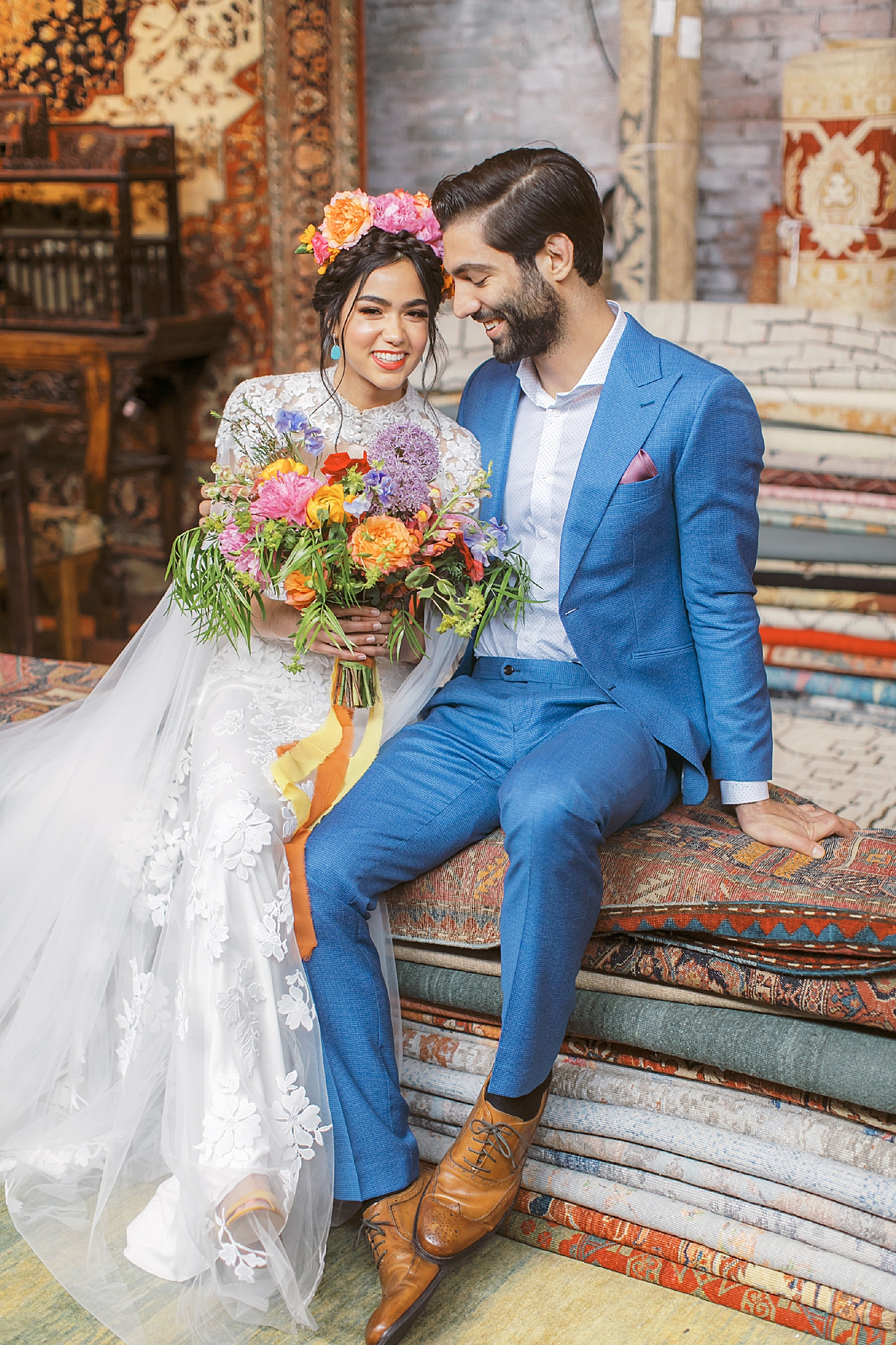Vibrant and Colorful Frida Kahlo Inspired Wedding Photography by Magdalena Studios 0020