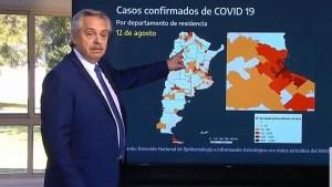 """Fernández anunció extensión del aislamiento hasta el 30 y que las """"zonas rojas"""" volverán a la fase 1"""