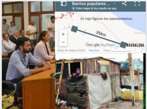 "Asentamientos: ""…a solo 40 km de Magdalena…el kirchnerismo festeja…"" dijo el Concejal Martín Fontana"