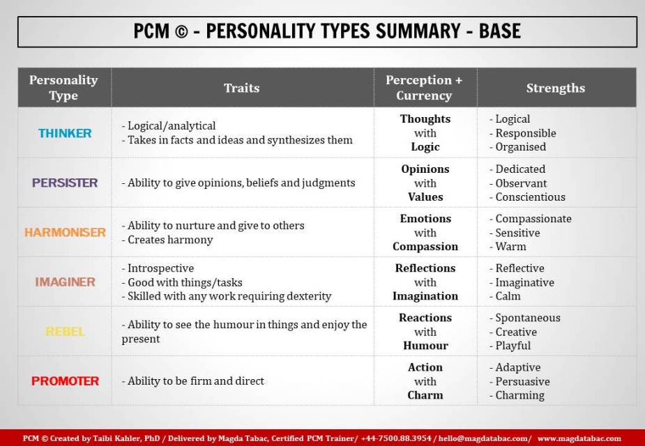 Summary PCM Personality Types Base Personality 1024x709 - Motivation and distress - in my first post on People First