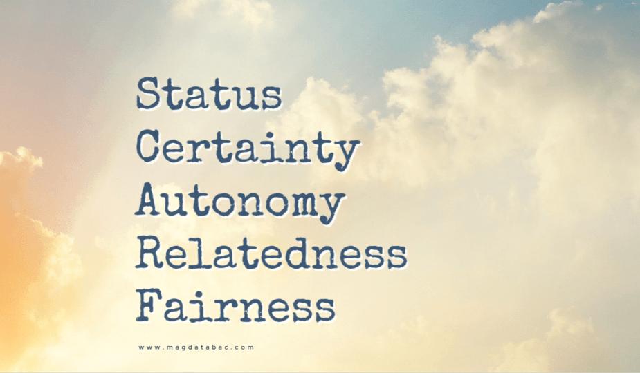 SCARF Model; Magda Tabac; Status; Certainty; Autonomy; Relatedness; Fairness